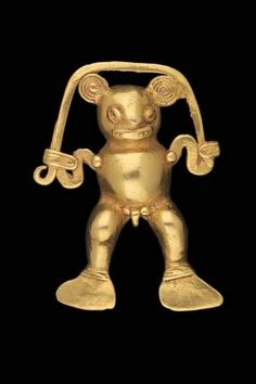 Bat-shaman effigy pendant; Veraguas-Gran Chiriquí, A.D. 900–1550;Veraguas and Chiriquí Provinces, Panama. Gold. Open-backed cast gold pendant depicting a bat-shaman male figure. He grasps a serpent-like form that arches over his head. A vertical suspension ring at the back of the neck allows for suspension.
