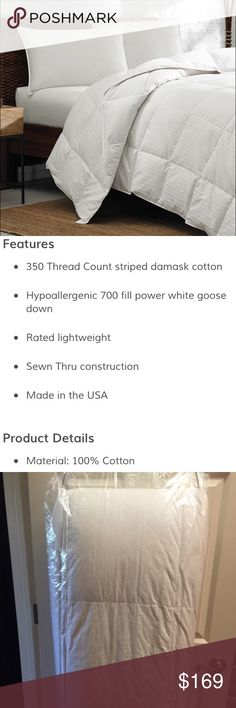 """Eddie Bauer • Goose Down Queen Comforter • Light☁️ """"Eddie Bauer"""" • LIGHTWEIGHT COMFORTER • WHITE GOOSE DOWN • Hypoallergenic 700 Fill Power • VERY LIGHT & LOFTY without the extra warmth wrapped in plush 350 thread count Damask Cotton Striped Shell • Made with a sewn thru construction to help release excess heat • This Luxurious Comforter is so easy to care for as it is machine washable & machine dry able • Has been professionally cleaned and wrapped & is in Excellent Condition • QUEEN SIZE…"""