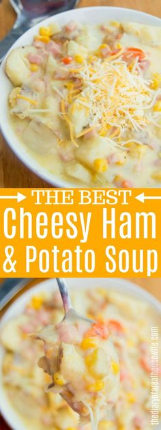 This Cheesy Ham and Potato Soup is simple to make and works perfectly for leftover Christmas Ham. #cheesy #soup #potatosoup