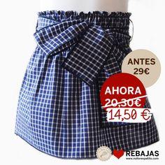 Falda lazada con cintura elástica en cuadros marino al 50% en www.nollorespatito.com