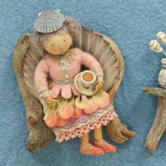 "Detail from ""Pocketful of Posies"" 2010 Needle Felting Tutorials, Felt Fairy, Creative Embroidery, Textiles, Boy Doll, Felt Dolls, Fabric Art, Embroidery Applique, Felted Scarf"