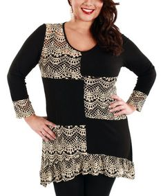 Another great find on #zulily! Lily Black & Beige Lace Patchwork Tunic - Plus by Lily #zulilyfinds