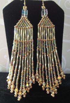 Chandelier Earrings  Long Golden Metallic Seed Bead by WorkofHeart