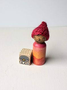Wooden peg doll play set -simple hand painted wooden peg doll - crochet wool hat - modern diverse dolls, waldorf play sets, multicultural dolls, diverse toys made by Tiny Kind Toys on Etsy Wooden Owl, Wooden Pegs, Handmade Toys, Handmade Wooden, Modern Kids Decor, Green Toys, Play Sets, Dollhouse Toys, Crochet Wool