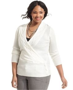 Planet Gold Plus Size Sweater, Long Sleeve Cable Knit, In White - Macy's