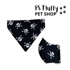 Skull ☠️ set . Matching dog bandana and face covering. Bandana Print, Dog Bandana, Big Dog Breeds, Neck Accessories, Skull Fashion, Medium Sized Dogs, Skull Face, Skull Design, Skull Print