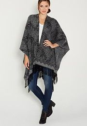ultra soft patterned ruana wrap with fringe - maurices.com