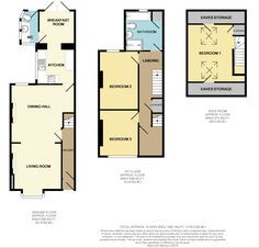 Lovely layout of a property :-) Floor Plans, Layout, Flooring, How To Plan, Dining, Living Room, Bedroom, Storage, Birds
