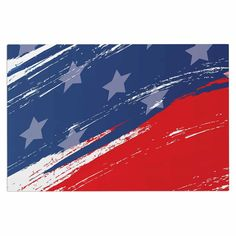 "NL designs ""Red White Blue"" Red White Decorative Door Mat"