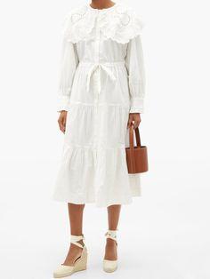 Cotton Shirt Dress, Poplin Dress, Lace Dress, White Dress, Matches Fashion, Classic Looks, Cool Style, Cold Shoulder Dress, Women Wear
