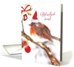 Merry Christmas in Polish, Watercolor, Red Robin card