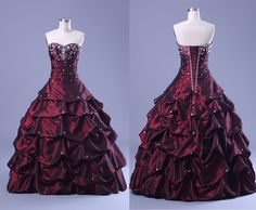 Vintage Layered design strapless long Prom dress, Embroidery Dark Purple Ruffled Skirt Ball Gown $196.00
