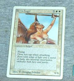 MAGIC The Gathering, SERRA ANGEL, Summon Angel Card, Single Card, white border, Unlimited, Played, Vg.+-Exc. by brotoys1 on Etsy