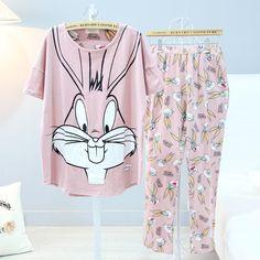 Women Bugs Bunny cartton Sleepwear girls rabbit Pajama set Ladies S Sleeve Cotton Cute Nightgown Purple Pyjamas Bottoms set