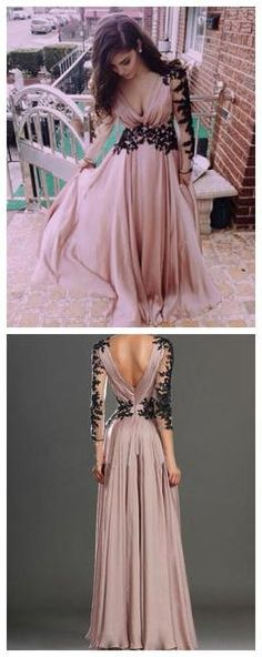Black Lace Dusty Pink V-neck Long Sleeve Chiffon Popular Cheap Long Prom Dresses, PD0112