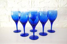 Set of Six Colbalt Blue Wine Glasses by holySMACKroll on Etsy, $34.00