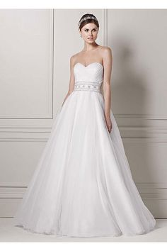 Petite Strapless Tulle Ball Gown with Beaded Belt AI19010190