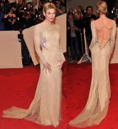 Renee Zellweger @ Costume Institute Met Ball 2011 w/ Alexander McQueen Backless Gown