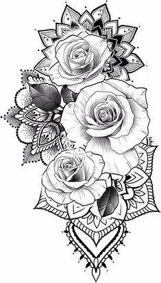 Mandala Arm Tattoo, Mandala Flower Tattoos, Mandala Tattoo Design, Flower Tattoo Designs, Sunflower Tattoos, Tattoo Flowers, Butterfly Tattoos, Rose Tattoos, Leg Tattoos