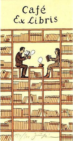 Cafe Ex Libris - artist unknown