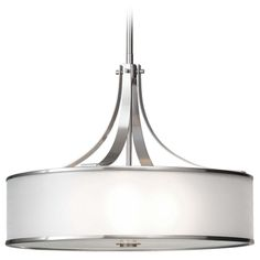 Feiss Lighting Drum Pendant Light with Silver Shade in Brushed Steel Finish F2343/4BS Drum Pendant, Pendant Chandelier, Pendant Light Fixtures, Light Fittings, Ceiling Fixtures, Pendant Lighting, Alcove Lighting, House Lighting, Kitchen Lighting