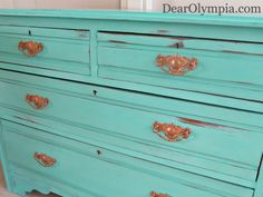 Antique Santa Fe Turquoise Dresser with CeCe Caldwell's Chalk and Clay Paint | Refinished Furniture | Dresser | Upcycle | Painted Furniture | CeCe Caldwells Paint