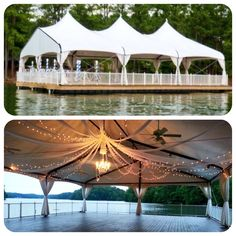 Lake Lanier's Venetian Pier- A beautiful and elegant wedding we decorated on a floating tent in the water!