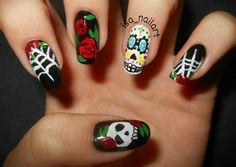 Skull Nail Art, Skull Nails, Nail Designs, Beauty, Nail Desings, Beauty Illustration, Nail Design, Nail Organization, Nail Art Ideas