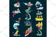 Set of water extreme sports icons, isolated design elements for summer vacation activity fun concept, cartoon wave surfing, sea beach vector illustration, active lifestyle adventure. Sport Icons