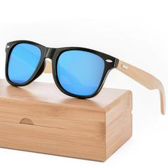 a0970e61f94 Retro Bamboo Wood Sunglasses Men Brand Design Sport Goggles Gold Mirror  Glasses Shades lunette oculo