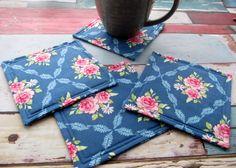 Fabric Coasters Set of 4 - Rose Fabric Mug Mats - Blue & Pink Reversible Coaster by TheCornishCoasterCo on Etsy