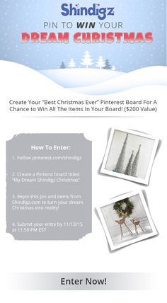 Shindigz is giving you the chance to win your DREAM Christmas! Follow the 4 simple steps shown in the pin and enter for your chance to win the items in your board! Winner announced 11/16! Christmas Giveaways, Christmas Themes, Christmas Fun, Secret Places, Cute Photos, Krystal, Birthday Party Themes, Photo Props, My Dream