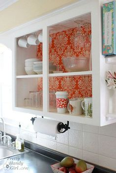 34 DIY Kitchen Cabinet Ideas DIY Kitchen Cabinets – Fabric Backed Open Kitchen Cabinets – Makeover Ideas for Kitchen Cabinet – Build and Design Kitchen Cabinet Projects on A Budget – Cheap Reface Idea and Tutorial - Update Your Kitchen Cabinets Open Kitchen Cabinets, Kitchen Cabinet Remodel, Kitchen Cabinet Design, Diy Cabinets, Paint Inside Cabinets, Kitchen Shelves, White Cabinets, Corner Cabinets, Glass Cabinets