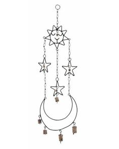 Metal Wind Chime Hanger with Sun and Star Accents - This chime is made of high quality metal that ensures the endurance to last for a long time. The chime setup consists of attractive components that are artistically designed and held delicately by a metal chain. The metal ring on top enables the chime to be hung conveniently from any location.