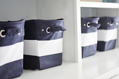 These classic navy and white striped bins are so handy to have!