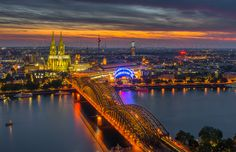 The Cologne Cathedral during the night is coming over the city.  #markuslandsmann #Cologne #cityscape #photography