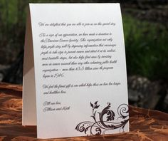 Elegant tented thank you message for the wedding reception tables.  | Invitations by Ajalon | invitationsbyajalon.com