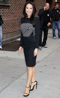 Lucy Liu.. Band of Outsiders Fall 2013 Striped Boatneck Dress, with Saint Laurent sandals..