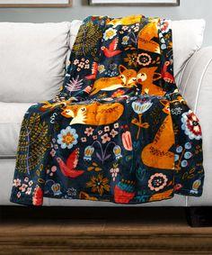 Another great find on #zulily! Navy Pixie Fox Flannel Throw #zulilyfinds