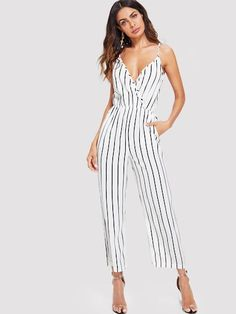 fe48d67a3234 Shop V Neckline Striped Jumpsuit online. SheIn offers V Neckline Striped  Jumpsuit   more to fit your fashionable needs.