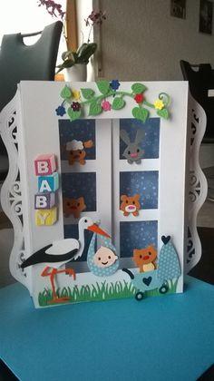 Glückwunschkarten - Glückwunschkarte 3D Fensteraufsteller Geburt Junge - ein Designerstück von Petra1966 bei DaWanda