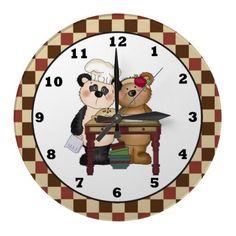 Baking Pie Bears wall clock