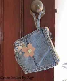 Recycle jeans into a coin purse!...I have tons of jean pockets packed away somewhere in my craft room leftover from making jean quilts, must find them and use...I wouldn't put the flowers on them though, just don't like those flowers.