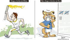 Charge do Dum (Zona do Agrião) comparando a chegada da tocha com a ausência de treinador no Cruzeiro (07/05/2016). #Charge #Dum #Cruzeiro #Olimpíadas #Rio2016 #HojeEmDia