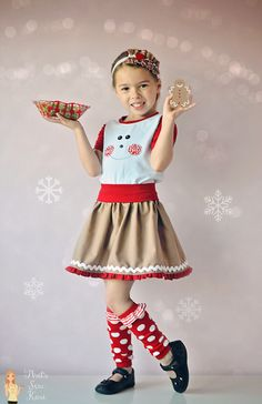 Gingerbread Girl -- Pattern Revolution Christmas series Everyday Play Skirt and Drop Waist Diva (bodice) by Little Lizard King