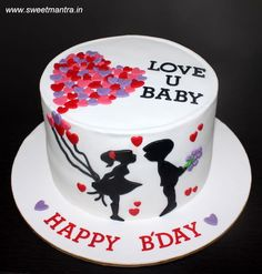 Love theme customized cake with couple silhouettes holding balloons of hearts by Sweet Mantra - Customized 3D cakes Designer Wedding/Engagement cakes in Pune - http://cakesdecor.com/cakes/295876-love-theme-customized-cake-with-couple-silhouettes-holding-balloons-of-hearts