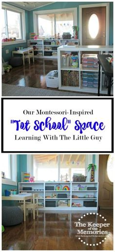 'Our Montessori-Inspired Tot School Space.' (via The Keeper of the Memories) Toddler Preschool, Learning Activities, Preschool Activities, Preschool Education, Tot School, Learning Spaces, Home Schooling, Science For Kids, Motor