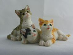 Trio of Kittens Collectible Figurine 18054* Approximately 7 inches wide x 3 1/2 inches high
