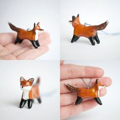 Poly Clay Fox Necklace