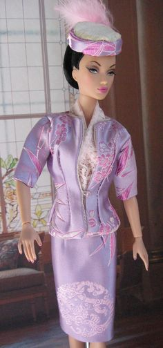 Soft Lavender and PInk silk Brocade suit, hat and lace scarf.